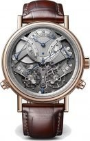 Мужские классические часы Breguet Tradition 7077BR_G1_9XV хронограф в розовом золоте, со смещенным посеребренным циферблатом, запасом хода, на коричневом браслете.