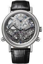 Мужские классические часы Breguet Tradition 7077BB_G1_9XV хронограф в белом золоте со смещенным посеребренным циферблатом, указателем запаса хода, на кожаном ремешке.
