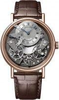 Мужские классические часы Breguet Tradition 7097BR_G1_9WU в розовом золоте с ретроградной секундной стрелкой, со смещенным посеребренным циферблатом, на коричневом браслете.