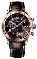 Мужские спортивные часы Breguet Type 3810BR_92_9ZU хронограф в розовом золоте, темный циферблат, индикация времени суток, кожаный ремешок.