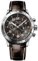 Мужские спортивные часы Breguet Type-3810ST_92_9ZU хронограф в стальном корпусе с темным циферблатом, указателем суток, на кожаном ремешке.