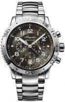 Мужские спортивные часы Breguet Type-3810ST_92_SZ9 хронограф в стальном корпусе с темным циферблатом, индикация времени суток, стальной браслет.