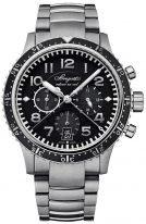 Мужские спортивные наручные часы Breguet Type-3810TI_H2_TZ9 хронограф в титановом корпусе с черным циферблатом, титановый браслет.