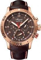 Мужские спортивные часы Breguet Type-3880BR_Z2_9XV сплит-хронограф со временем второго часового пояса в розовом золоте, с темным циферблатом и кожаным ремешком.