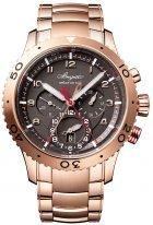 Мужские спортивные часы Breguet Type-3880BR_Z2_RXV сплит-хронограф со временем второго часового пояса в розовом золоте, темный циферблат, браслет из розового золота.