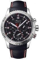 Мужские спортивные часы Breguet Type 3880ST_H2_3XV сплит-хронограф со временем второго часового пояса в стальном корпусе, темный циферблат, кожаный ремешок.