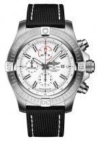 Мужские спортивные часы Breitling Avenger A133751A1A1X1 хронограф с белым циферблатом, с белыми счетчиками хронографа, текстильный ремешок.