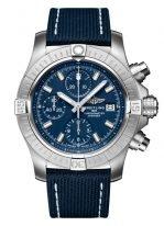 Мужские спортивные часы Breitling Avenger A13385101C1X1 хронограф в стальном корпусе, синий циферблат, синий текстильный ремешок