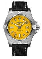 Мужские спортивные часы Breitling Avenger A17319101I1X1 в стальном корпусе, желтый циферблат, текстильный ремешок