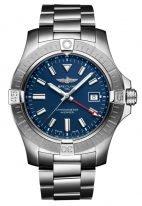 Мужские спортивные часы Breitling Avenger A32395101C1A1 со временем второго часового пояса, для дайверов, с синим циферблатом, стальной браслет