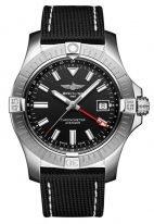 Мужские спортивные часы Breitling Avenger A32397101B1X1 в стальном корпусе, с черным циферблатом, черный текстильный ремешок с классической застежкой.