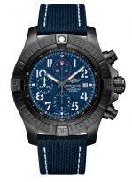 Мужские спортивные часы Breitling Avenger V13375101C1X1 хронограф в черном титановом корпусе с синим циферблатом и трафаретными цифрами, синий текстильный ремешок.