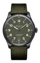Мужские спортивные часы Breitling Aviator 8_M173152A1L1X1 в стальном корпусе с покрытием DLC, оливковый циферблат с арабскими цифрами, зеленый текстильный ремешок