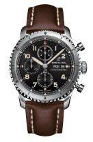 Мужские спортивные часы Breitling Aviator 8_A13316101B1X3 хронограф в стальном корпусе с черным циферблатом, коричневый телячий ремешок.