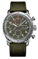 Мужские спортивные часы Breitling Aviator 8_A133161A1L1X1 хронограф, дата/день недели, стальной корпус, оливковый циферблат с люминесцентными метками и стрелками, текстильный ремешок хаки