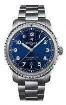 Мужские спортивные часы Breitling Aviator 8_A17315101C1A1 в стальном корпусе, синий циферблат с арабскими цифрами, стальной браслет.