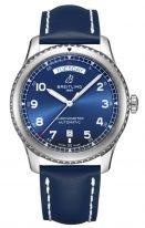 Мужские наручные часы Breitling Aviator 8_A45330101C1X3 с датой и днем недели, синий циферблат, синий телячий ремешок.