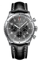 Мужские спортивные часы Breitling Aviator 8_AB0119131B1P1 хронограф с антрацидным циферблатом и люминесцентными стрелками, черная кожа кроко.