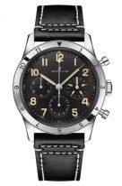 Мужские спортивные часы Breitling Aviator 8_AB0920131B1X1 хронограф в стальном корпусе, черный циферблат, черный ремешок в винтажном стиле.