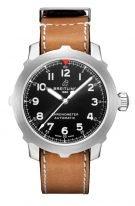 Мужские спортивные часы Breitling Aviator 8_AB2040101B1X1 в стальном корпусе, черный циферблат с арабскими цифрами, коричневый телячий ремешок.
