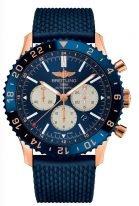 Мужские наручные часы Breitling Chronoliner-RB046116_C972_276S в розовом золоте с керамическим рантом с функцией второго часового пояса и хронографом, синий циферблат, синий каучук.
