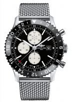 """Мужские спортивные часы Breitling Chronoliner-Y2431012_BE10_152A в стальном корпусе с функцией второго часового пояса, хронографа, с черным циферблатом, стальной """"миланский"""" браслет."""