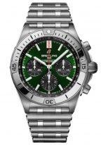 Мужские спортивные часы Breitling Chronomat AB01343A1L1A1 в стальном корпусе, хронограф, зеленый циферблат с черными счетчиками, стальной браслет