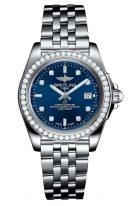 Женские наручные часы Breitling Galactic -A7133053_C966_792A в стальном корпусе, с бриллиантовым рантом, с синим циферблатом и бриллиантовыми индексами, тальной браслет