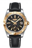 Женские наручные часы Breitling Galactic -C37330121B1X1 в биколорном корпусе (сталь/розовое золото) с черным циферблатом, черная кожа.