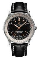 Мужские наручные часы Breitling Navitimer A17326211B1P1 с датой в стальном корпусе, с черным циферблатом, черной кожей кроко.