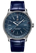 Женские наручные часы Breitling Navitimer A17395161C1P1 с синим циферблатом, синий кроко ремешок.