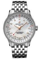 Женские наручные часы Breitling Navitimer A17395211A1A1 в стальном корпусе, с перламутровым светлым циферблатом, бриллиантовыми индексами, стальным браслетом