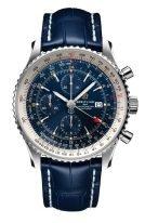 Мужские спортивные часы Breitling Navitimer A24322121C2P1 хронограф со временем второго часового пояса в стальном корпусе, синий циферблат, синяя кожа кроко.