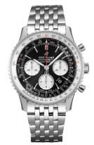 Мужские спортивные часы Breitling Navitimer AB0121211B1A1 хронограф в стальном корпусе, черный циферблат с белыми счетчиками, стальной браслет.