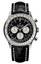 Мужские наручные часы Breitling Navitimer AB0127211B1P1 хронограф в стальном корпусе, с черным циферблатом и светлыми счетчиками, люминесцентными стрелками, черная кожа кроко.