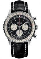 Мужские спортивные наручные часы Breitling Navitimer-AB0127211B1P1 хронограф в стальном корпусе с черным циферблатом и белыми счетчиками, черный ремешок кроко с раскладной застежкой.