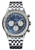 Мужские спортивные наручные часы Breitling Navitimer-AB0127211C1A1 хронограф в стальном корпусе, с синим циферблатом и белыми счетчиками, стальной браслет Navitimer.