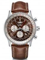 Мужские спортивные наручные часы Breitling Navitimer-AB031021_Q615_757P сплит-хронограф в стальном корпусе, с коричневым циферблатом и белыми счетчиками, коричневой кожей кроко.