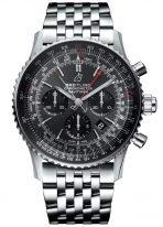 Мужские спортивные наручные лимитированные часы Breitling Navitimer-AB03102A1F1A1 сплит-хронограф в стальном корпусе с серым циферблатом и черными счетчиками, стальной браслет Navitimer