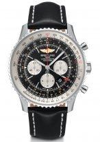 Спортивные часы Breitling Navitimer-AB044121_BD24_441X хронограф со временем второго часового пояса, черный циферблат с белыми счетчиками, черный телячий ремешок.