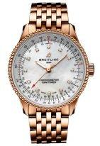 Женские наручные часы Breitling Navitimer R17395211A1R1 в розовом золоте, светлый перламутровый циферблат, браслет из розового золота.
