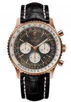 Мужские спортивные наручные часы Breitling Navitimer-AB0127211B1P1 хронограф в розовом золоте с антрацидным циферблатом, черным ремешком кроко