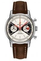 """Мужские спортивные часы Breitling Premier A23310121G1X1 в стальном корпусе, циферблат """"Зорро"""", коричневый ремешок из нубука, лимитированные."""