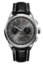 Мужские спортивные часы Breitling Premier AB0118221B1P1 с хронографом в стальном корпусе, с черным циферблатом, черный телячий ремешок.