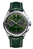 Мужские спортивные часы Breitling Premier AB0118A11L1X1 хронограф в стальном корпусе, зеленый циферблат, зеленая телячья кожа.