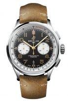 Мужские спортивные часы Breitling Premier AB0118A21B1X1 хронограф в стальном корпусе, черный циферблат с белыми счетчиками, коричневый нубуковый ремешок