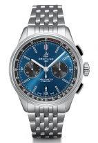 Мужские наручные часы Breitling Premier -AB0118A61C1A1 хронограф в стальном корпусе, на синем циферблате черные счетчики, стальной браслет.