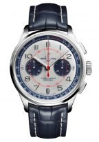 Мужские наручные часы Breitling Premier AB0118A71G1P1 хронограф в стальном корпусе, светлый циферблат, синяя кожа кроко.