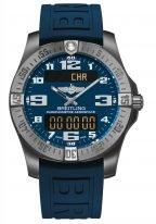 Мужские спортивные часы Breitling Professional-E7936310_C869_158S в титановом корпусе с функцией будильника и хронографа с синим циферблатом, синим каучуком.