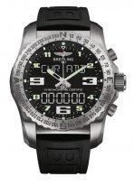 Мужские спортивные часы Breitling Professional EB5010221B1S1 в титановом корпусе с функцией мирового времени, будильника и хронографа с черным циферблатом, черный каучук.